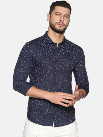 Showoff | SHOWOFF Men's Cotton Casual Navy Printed Slim Fit Shirt