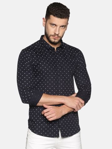 Showoff | SHOWOFF Men's Cotton Casual Black Printed Slim Fit Shirt