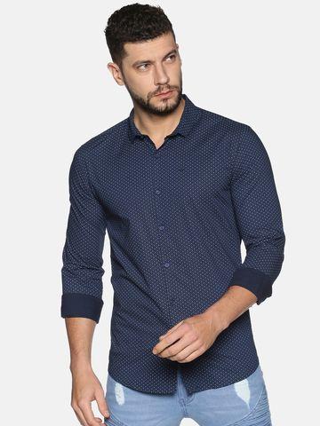 Showoff   SHOWOFF Men's Cotton Casual Blue Printed Slim Fit Shirt