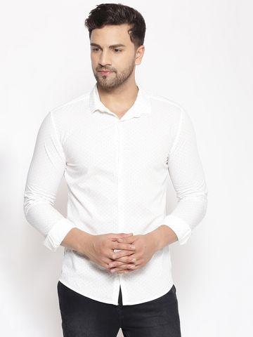 Showoff   SHOWOFF Men's  Cotton  White Printed Slim Fit Shirt