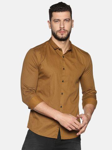 Showoff | SHOWOFF Men's Cotton Casual Khaki Printed Slim Fit Shirt