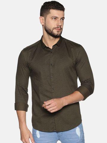 Showoff   SHOWOFF Men's Cotton Casual Green Printed Slim Fit Shirt