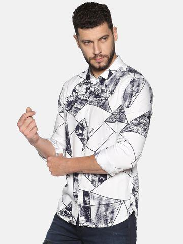 Showoff   SHOWOFF Men's Cotton Casual Navy Printed Slim Fit Shirt