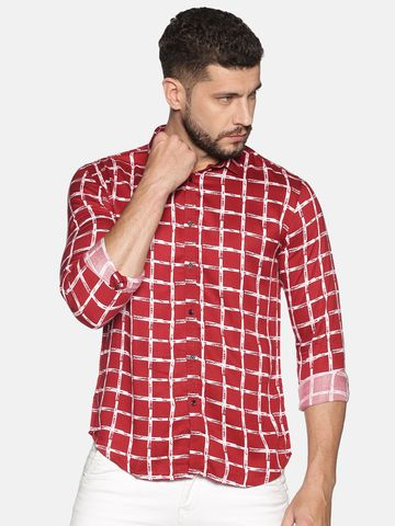 Showoff   SHOWOFF Men's Cotton Casual Red Printed Slim Fit Shirt