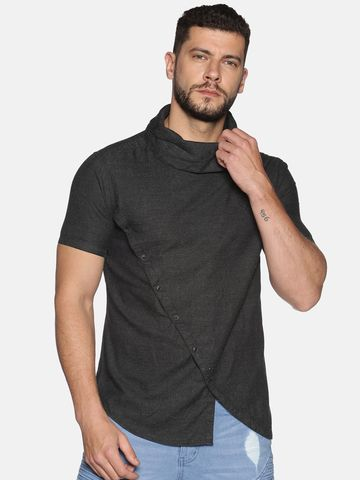 Showoff | SHOWOFF Men's Cotton Casual Black Solid Slim Fit Shirt