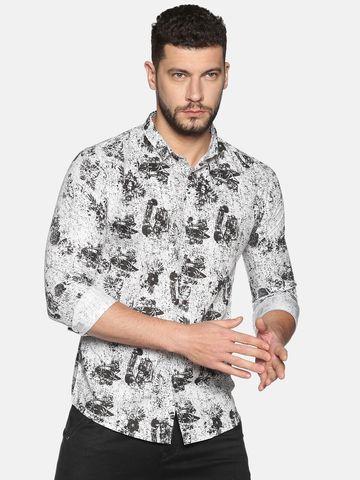 Showoff   SHOWOFF Men's Cotton Casual WhiteBlack Printed Slim Fit Shirt
