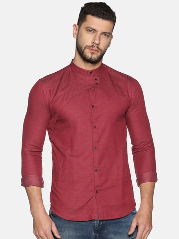 Showoff | SHOWOFF Men's Cotton Casual Maroon Solid Slim Fit Shirt