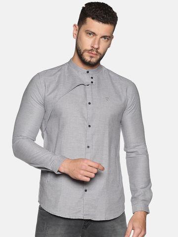 Showoff | SHOWOFF Men's Cotton Casual Grey Solid Slim Fit Shirt