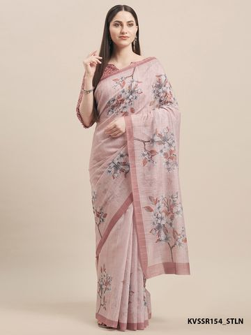 SATIMA | PinkLinen CottonFloral Print With Weaving Checks