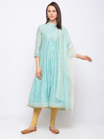 Ethnicity | Chanderi Silk Kalidar Three-Fourth Women Kurta