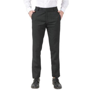 TAHVO   TAHVO men Black lycra formal trousers