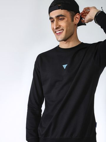 Blue Saint | Blue Saint Men's Black Regular Fit Sweatshirts