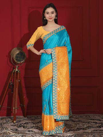 SATIMA   Embroidred Silk blend saree