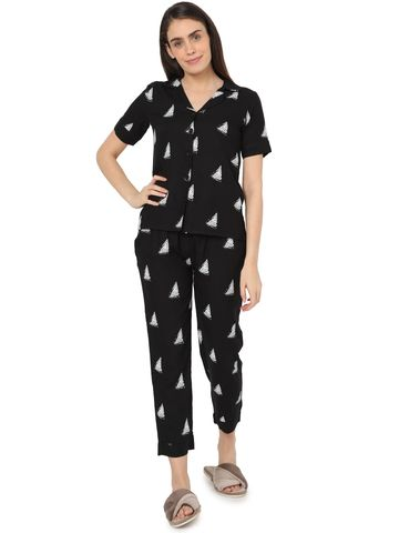 Smarty Pants | Smarty Pants women's cotton black color triangle print night suit