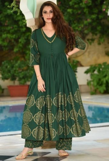 GAYRAA | Printed Flared green kurta with bottomwear