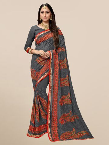 SATIMA | Designer Grey Georgette Self-Design Embroidered Saree