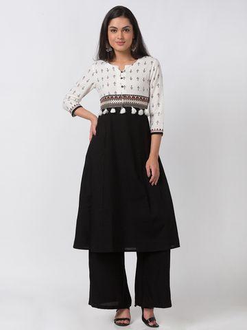 Ethnicity | Ethnicity Ecru Cotton Flax Women Kurta