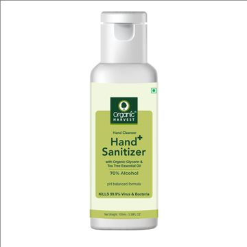 Organic Harvest | Organic Harvest Instant Anti - Bacterial Gel Hand Sanitizer & Hand Cleanser with Organic Glycerin & Tea Tree Essential Oil, 70% Alcohol, Kills 99.9% Virus & Bacteria, 100ml