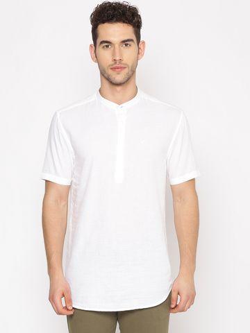 Showoff | SHOWOFF Men's  Lenin Casual White Solid Slim Fit Kurta