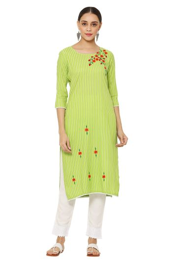 GAYRAA | Embroidered straight green kurta with pant