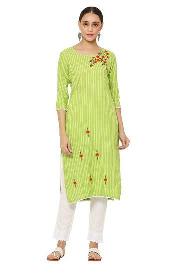 GAYRAA | Embroidered straight green kurta with pant