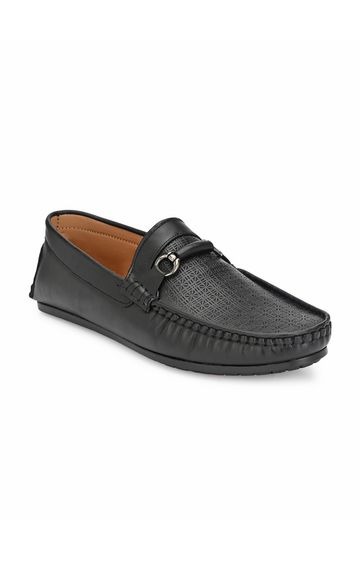 Guava | Guava Texture Embossed 360 Flexible Slip-on Driving Loafer Shoes - Black