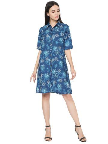 Smarty Pants | Smarty Pants women's polyester blue floral print button down shirt dress