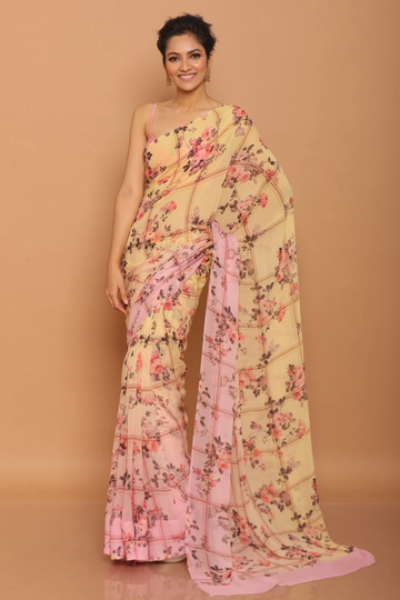 SATIMA | Satima Flower Print Peach Satin Saree