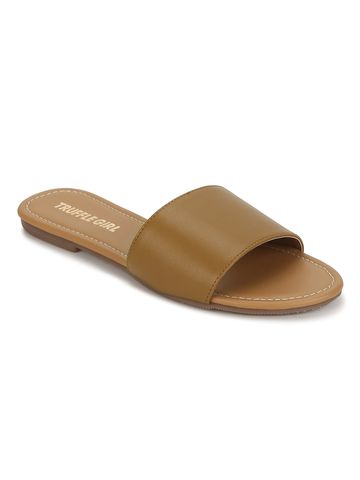 Truffle Collection | Camel PU Slide on Flat  Sandals