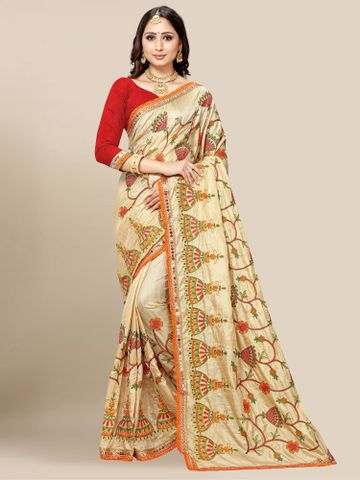 SATIMA | Women's Cream Embroidery Silk Blend Mirror Work Saree