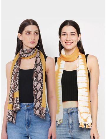Get Wrapped | Get Wrapped Tie-Dye & a Printed Scarves Combo for Women - Combo Pack of 2
