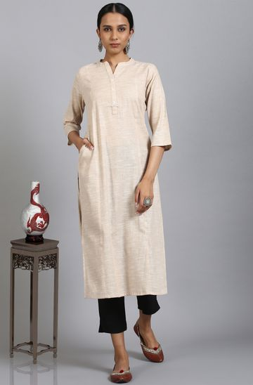 Janasya | Janasya Women's Beige Cotton Flex Kurta With Side Pocket