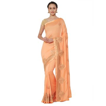 SATIMA | Satima PeachGeorgetteZari Embroidery Saree