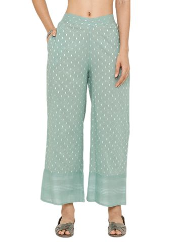 De Moza | De Moza Ladies Printed Palazzo Woven Bottom Cotton Mint