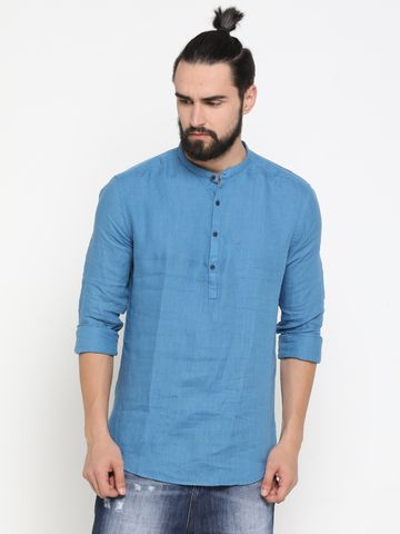 Showoff | Blue Showoff Men's Cotton Solid Slim Casual Kurtas