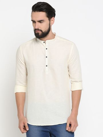 Showoff | White Showoff Men's Linen Solid Slim Casual Kurtas