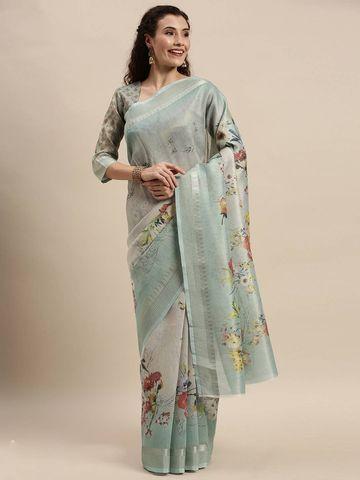 SATIMA | Women's Green Digital Floral Print Woven Saree