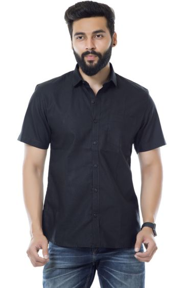5th Anfold | Fifth Anfold Casual Half Sleev/Short Sleev Black Pure Cotton Plain Solid Casual Men Shirt