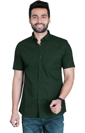 5th Anfold | Fifth Anfold Casual Half Sleev/Short Sleev Bottle Green Pure Cotton Plain Solid Partywear Men Shirt