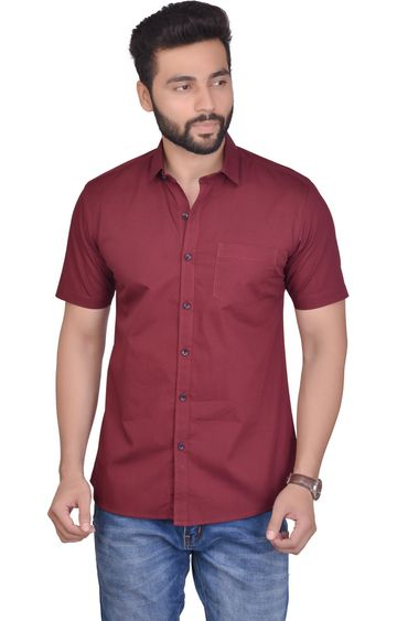 5th Anfold | Fifth Anfold Casual Half Sleev/Short Sleev Maroon Pure Cotton Plain Solid Casual Men Shirt(Size: 3XL)