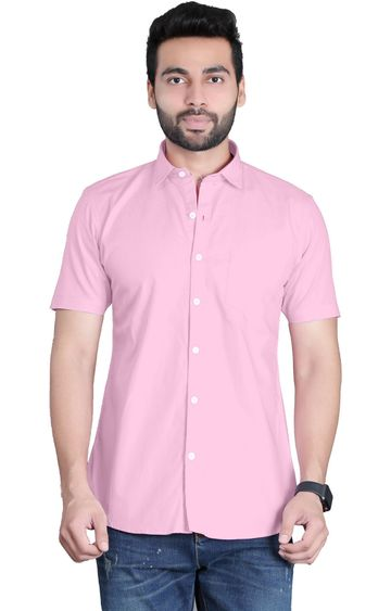 5th Anfold | Fifth Anfold Casual Half Sleev/Short Sleev Pink Pure Cotton Plain Solid Partywear Men Shirt