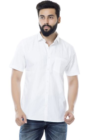 5th Anfold | Fifth Anfold Casual Half Sleev/Short Sleev White Pure Cotton Plain Solid Casual Men Shirt