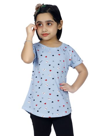 Impex | Impex Printed Sky Blue Tshirt For Girl