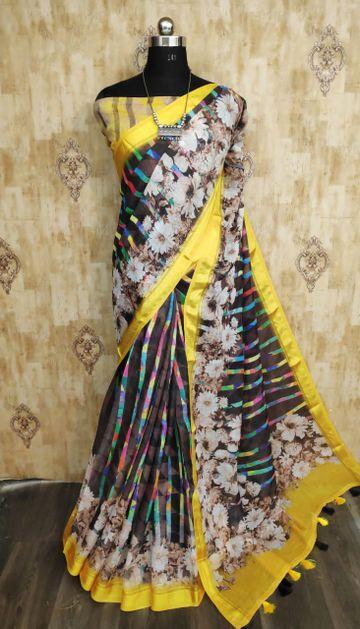 SATIMA | Satima Dark green color line blend digital print saree