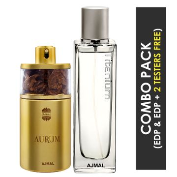Ajmal | Ajmal Aurum EDP Fruity Floral Perfume 75ml for Women and Titanium EDP Citrus Spicy Perfume 100ml for Men + 2 Parfum Testers FREE