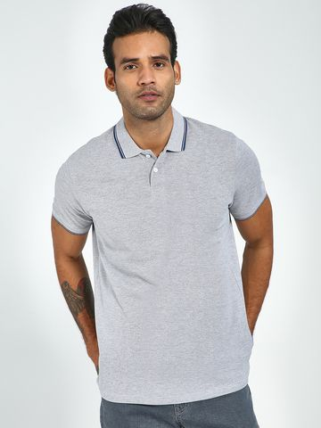 Blue Saint   Blue Saint Men's Grey Regular Fit T-Shirts