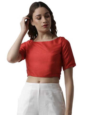 De Moza | De Moza Women's Spaghetti Crop Top Solid Polyester Dark Red