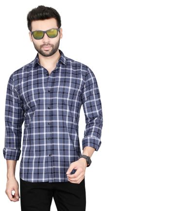 5th Anfold   Fifth Anfold Pure Cotton big  Checkered Full Sleev Spread Collar Mens Casual shirt