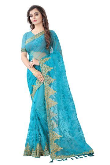 JINAL & JINAL | JJ Women's Tissue Net Chikankari Saree with Motif Stone Work - RUHI-2 SKY