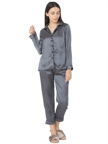 Smarty Pants | Silk satin dark grey night suit